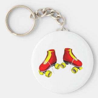 patins de rouleau rouges porte-clé rond