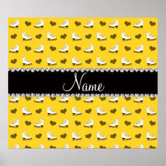 Patins et coeurs jaunes nommés faits sur commande