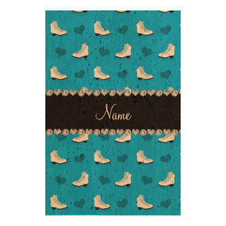Patins et coeurs nommés faits sur commande de bleu impression sur papier de liège