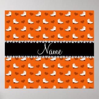 Patins et coeurs oranges nommés faits sur commande poster