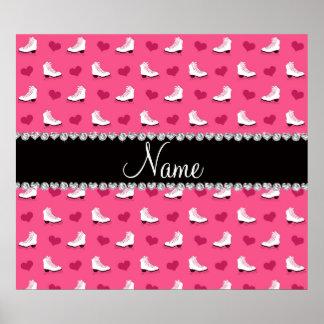 Patins et coeurs roses nommés faits sur commande poster