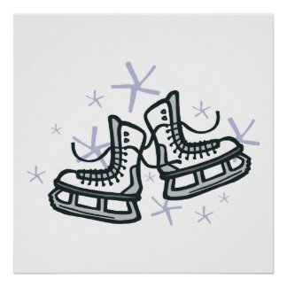patins et flocons de neige de glace graphiques poster