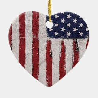 Patriote de cru de drapeau américain ornement cœur en céramique