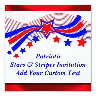 Patriotique toutes les étoiles d'Américain et Carton D'invitation 13,33 Cm