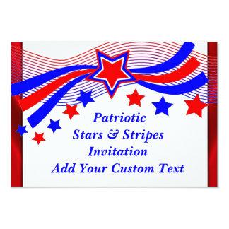 Patriotique toutes les étoiles d'Américain et Carton D'invitation 8,89 Cm X 12,70 Cm
