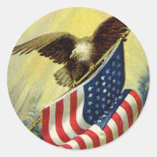Patriotisme vintage, drapeau américain patriotique adhésifs ronds