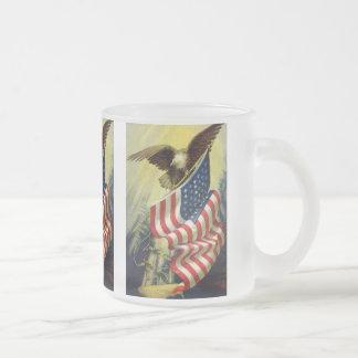 Patriotisme vintage, drapeau américain patriotique mug en verre givré