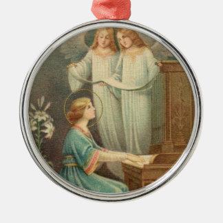 Patronesse de St Cecilia des musiciens Ornement Rond Argenté