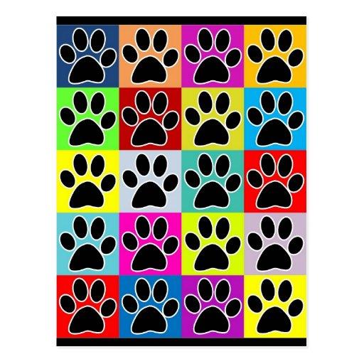 patte de chien colorée cartes postales