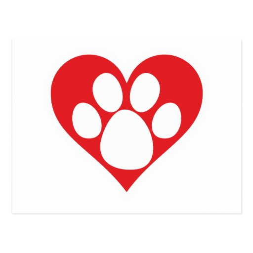 Patte de chien de coeur cartes postales