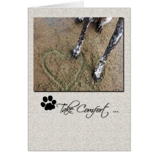 Patte de chien de sympathie d'animal familier au c cartes de vœux