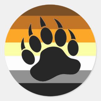 Patte de fierté d'ours sticker rond