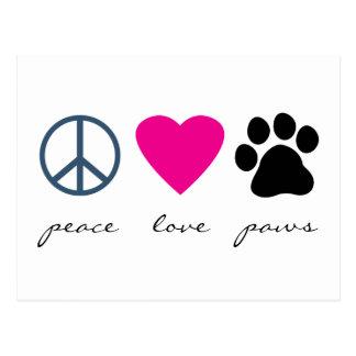 Pattes d amour de paix cartes postales