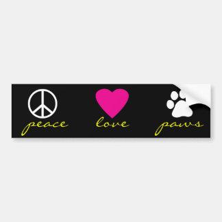 Pattes d'amour de paix autocollant de voiture