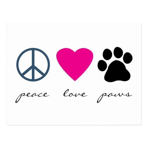 Pattes d'amour de paix cartes postales