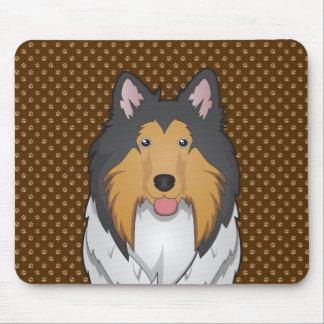 Pattes de bande dessinée de chien de colley tapis de souris
