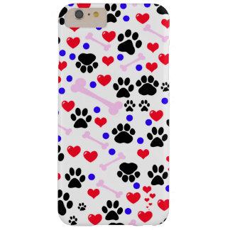Pattes de chien, os, points, coeurs - bleu rose coque iPhone 6 plus barely there