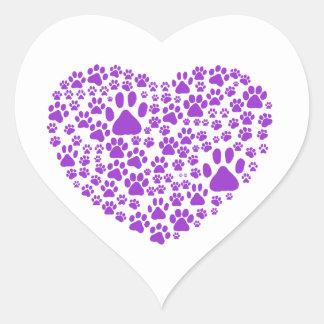Pattes de chien, traînées, empreintes de pattes, sticker cœur