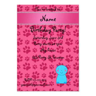 Pattes nommées personnalisées de rose de chat bleu carton d'invitation  12,7 cm x 17,78 cm