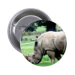 Pâturage du bouton blanc de rhinocéros pin's avec agrafe