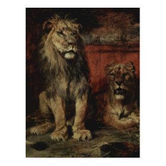 Paul Friedrich Meyerheim - lions Carte Postale