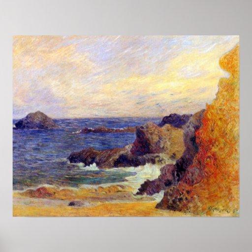 Paul Gauguin - côte rocheuse Affiches