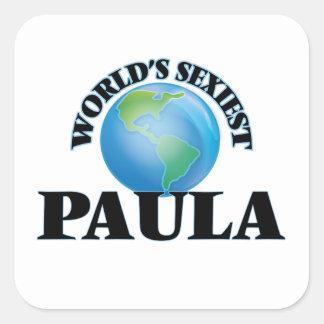 Paula la plus sexy du monde autocollants carrés