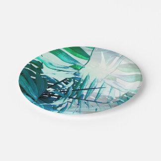 Paume tropicale assiettes en papier