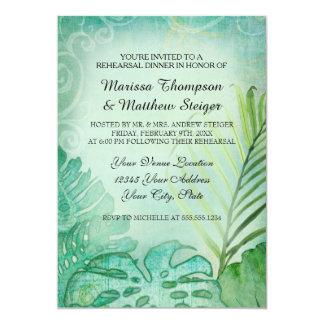 Paume tropicale de feuille de philodendron de carton d'invitation  12,7 cm x 17,78 cm