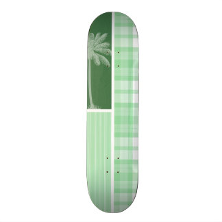 Paume tropicale et plaid vert clair planches à roulettes customisées