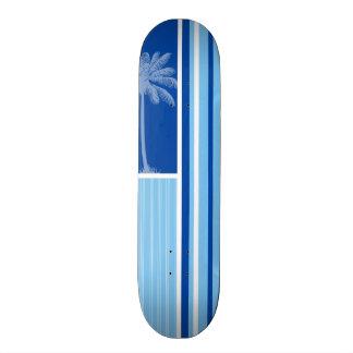 Paume tropicale Rayures bleues et blanches Skateboards Customisés