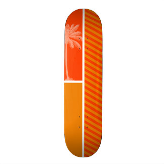 Paume tropicale ; Rayures oranges Skateboards Personnalisables