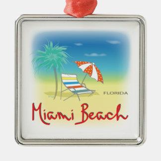 Paumes de Miami Beach Ornement Carré Argenté