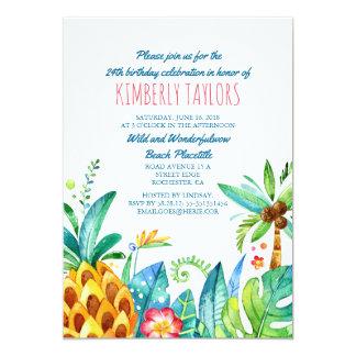Paumes tropicales d'ananas de fête d'anniversaire carton d'invitation  12,7 cm x 17,78 cm