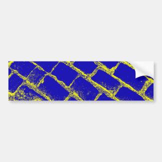 Pavés jaunes bleus renversés autocollant pour voiture