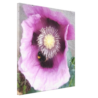 Pavot avec la photo d'abeille toiles