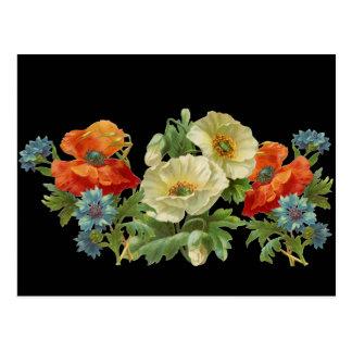 Pavot et carte postale florale vintage de bleuets