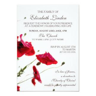 Pavots de rouge de la cérémonie commémorative | carton d'invitation  12,7 cm x 17,78 cm