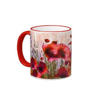 Pavots de style bohème mug