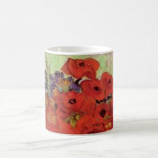 Pavots de Van Gogh et marguerites rouges, fleurs Mug