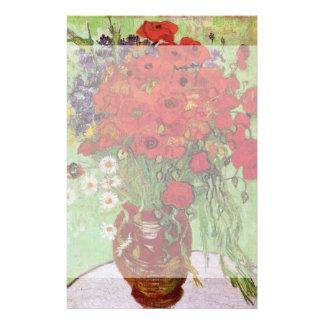 Pavots de Van Gogh et marguerites rouges, fleurs Papier À Lettre Personnalisé