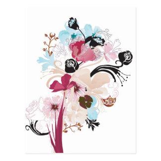 Pavots et carte postale de roses