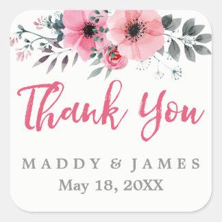 Pavots floraux d'aquarelle épousant le Merci Sticker Carré