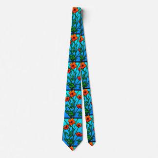 Pavots oranges sur la cravate bleue d'Aqua