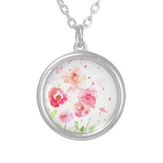 Pavots roses d'aquarelle collier