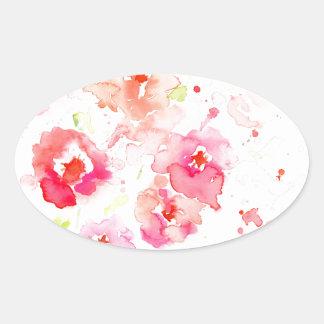 Pavots roses d'aquarelle sticker ovale