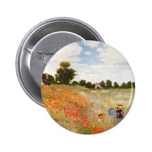 Pavots rouges fleurissant - Claude Monet Pin's