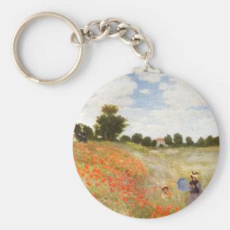 Pavots rouges fleurissant - Claude Monet Porte-clé Rond