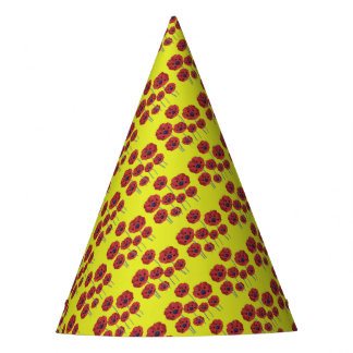 Pavots rouges sur le jaune chapeaux de fètes