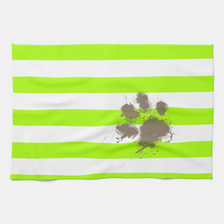 Pawprint drôle sur les rayures électriques de vert linges de cuisine